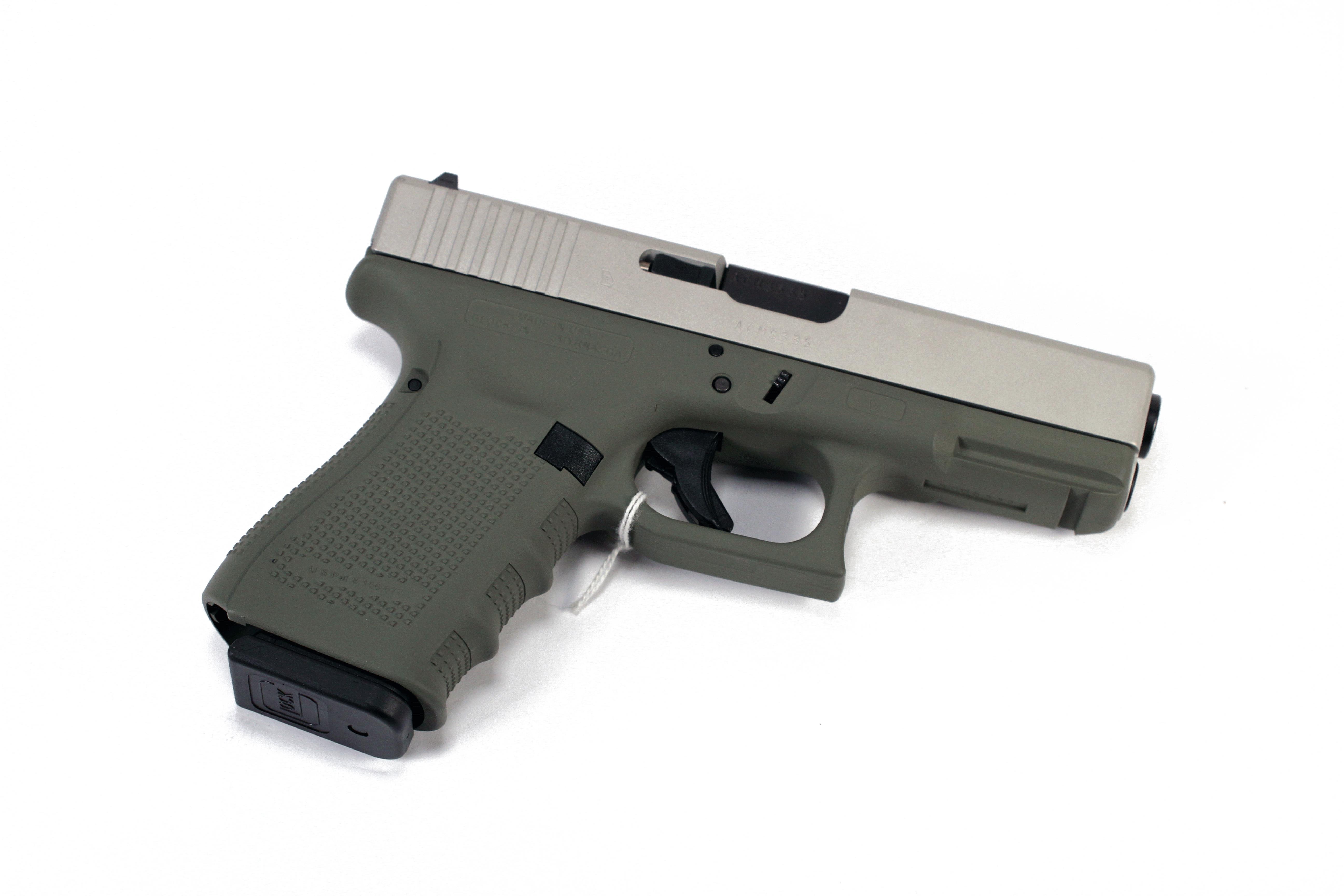 Glock 19 Gen 4 Brushed Stainless Slide/Forest Green Frame