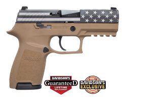Sig Sauer P320C Flag Engraved Slide, FDE Frame 9mm