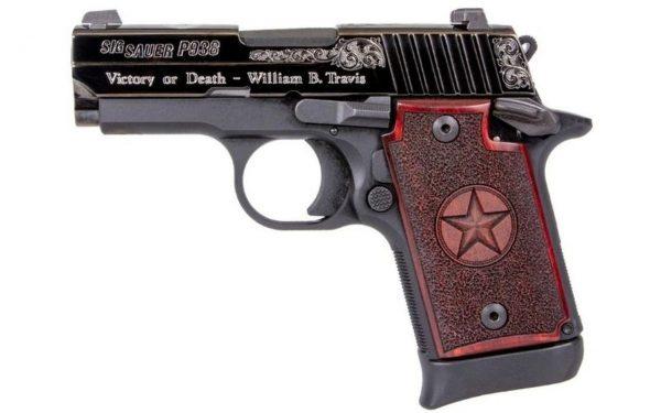 SIG SAUER P938 Texas Engraved Black Silver Engraving (938-9-TXS-AMBI)
